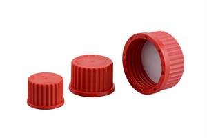 Red PBT Closetop Screw Cap GL14 GL16 GL18 GL25 GL32 GL45 With Included PTFE Coated Silicone Seal for Laboratory Glass Bottles